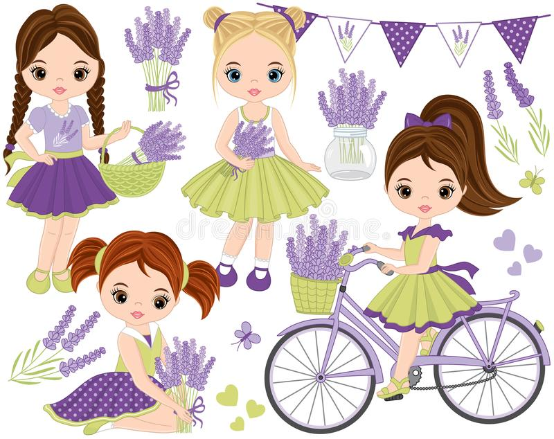 Vector Set with Cute Little Girls, Lavender, Bicycle and Bunting vector illustration