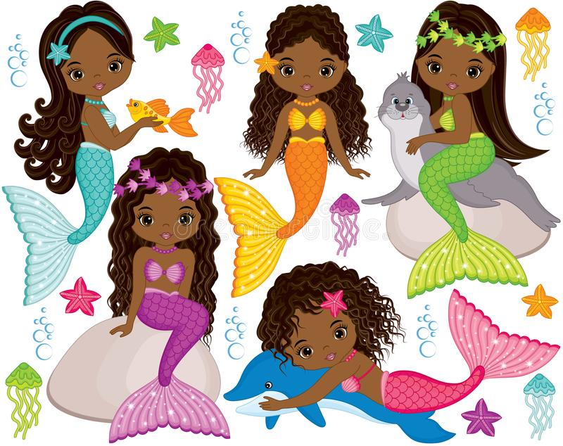 Vector Cute Little Mermaids with Marine Animals. Vector African American Mermaids stock illustration