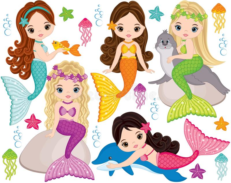 Vector Cute Little Mermaids with Marine Animals. Vector Mermaids. Vector set with cute mermaids, dolphin, fur seal, fish, starfish, jellyfish and seaweeds vector illustration