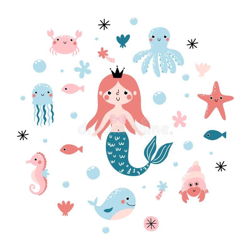 Vector set with cute princess mermaid and sea animals royalty free illustration