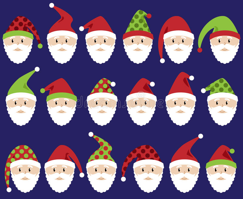 Vector Set of Cute Santa Claus Faces or Heads royalty free illustration