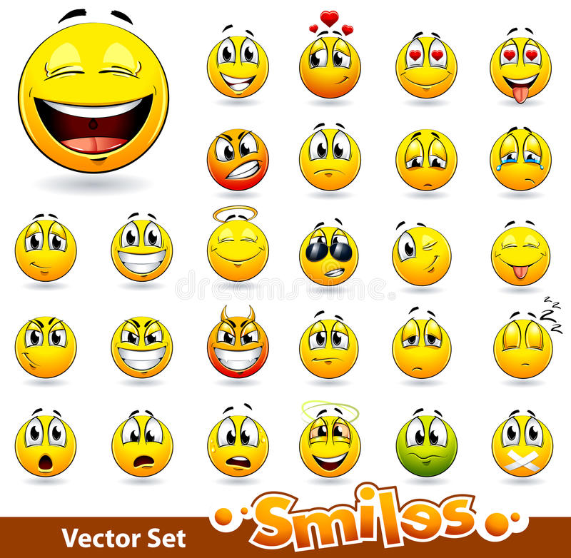Download Vector Set Of Cute Smile-balls Stock Vector - Illustration: 22261458