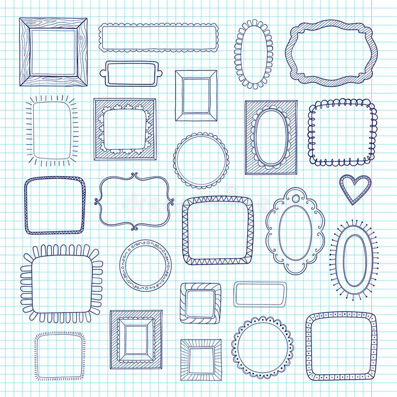 Vector set of cute vintage photo frames on notebook sheet paper background. Hand drawn doodle style for decoration. royalty free illustration
