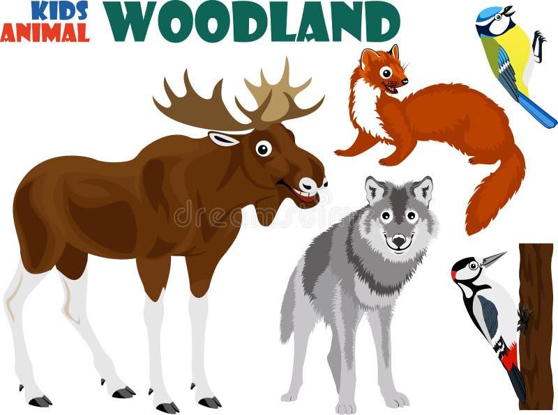 Vector set of cute woodland kids animals. Illustration vector illustration
