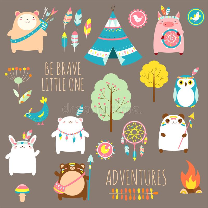 Vector set of cute woodland tribal animals royalty free illustration