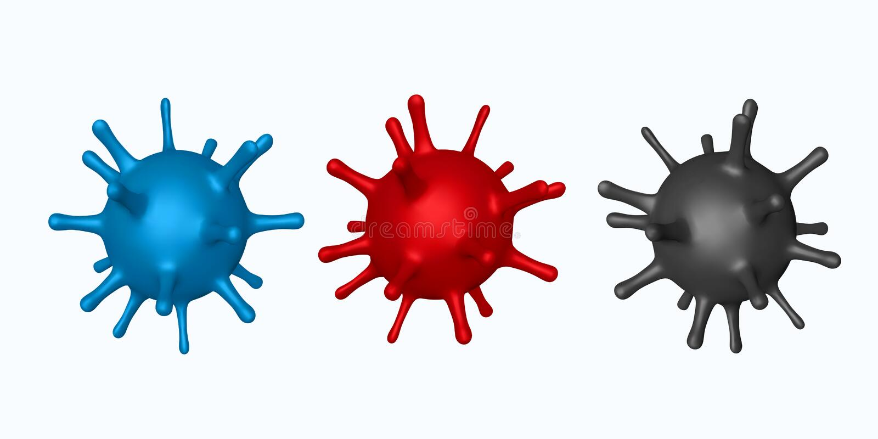 Vector set 3d abstract virus, bacteria royalty free illustration