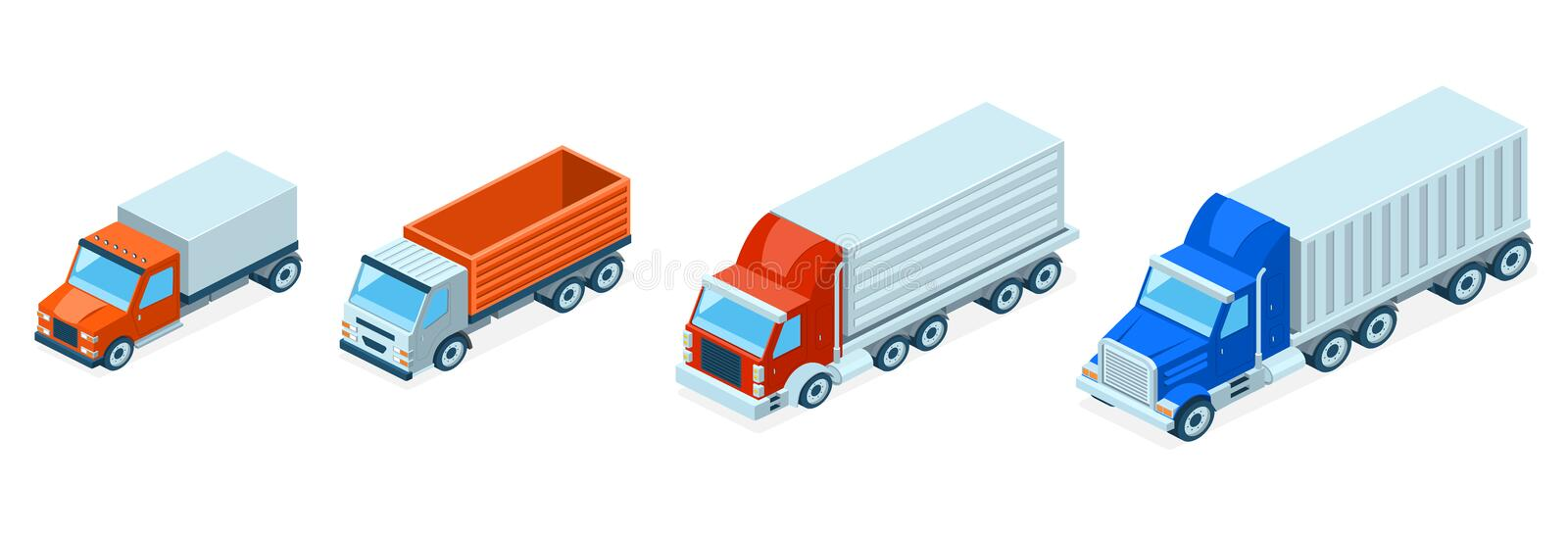 Vector 3d isometric trucks, lorries. Shipping concept royalty free illustration
