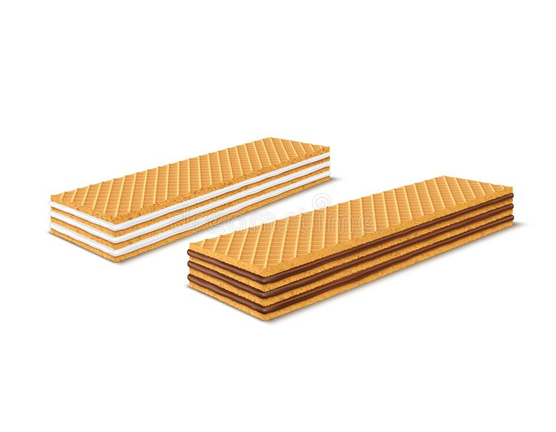 Vector set of 3d realistic rectangular crispy wafers with chocolate and milk filling isolated on white background. Waffles filled with vanilla creme, cacao royalty free illustration