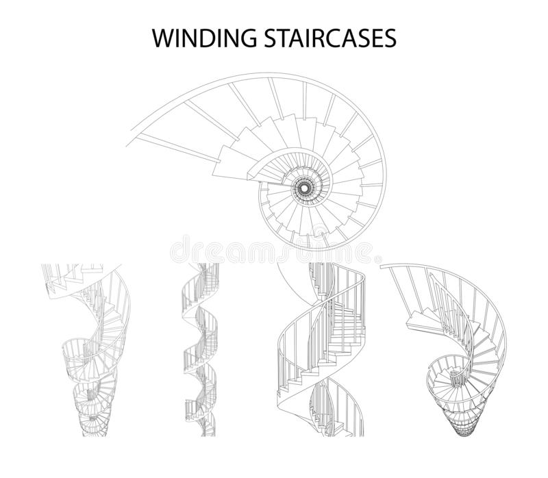 Vector set of 3d spiral winding staircases royalty free illustration