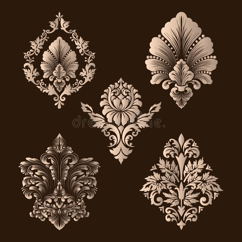 Vector set of damask ornamental elements. Elegant floral abstract elements for design. Perfect for invitations, cards royalty free illustration