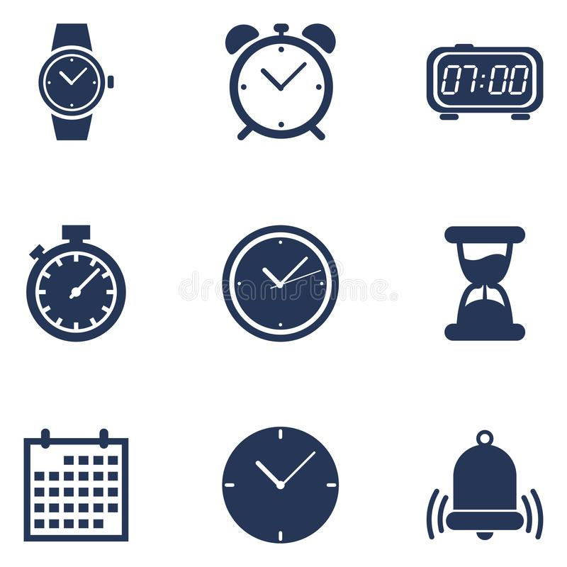 Vector Set of Dark Blue Silhouette Time Icons. vector illustration