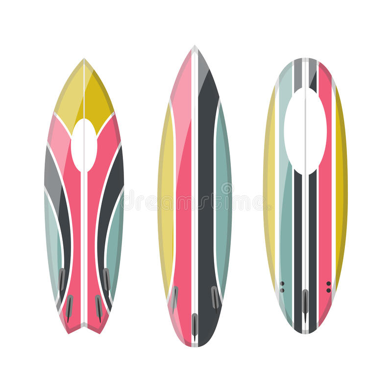 Vector set of decorated colorful surfboards royalty free illustration