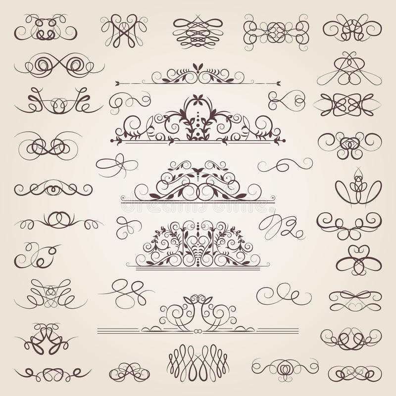 Vector set of decorative classical swirls and strokes. Medieval elements set royalty free illustration