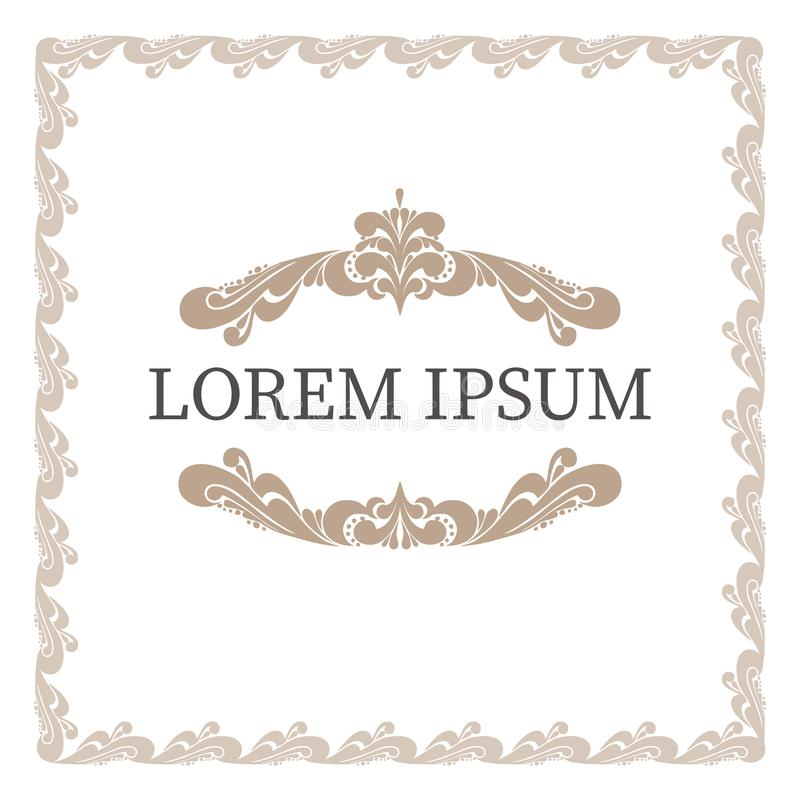 Vector set of decorative elements in baroque style. Elegant curl floral frame and decorated place for text for design royalty free illustration