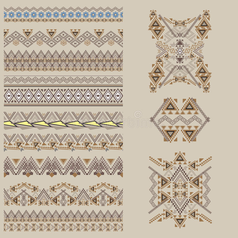 Vector set of decorative elements for design and fashion in ethnic tribal style. Borders and patterns collection royalty free illustration