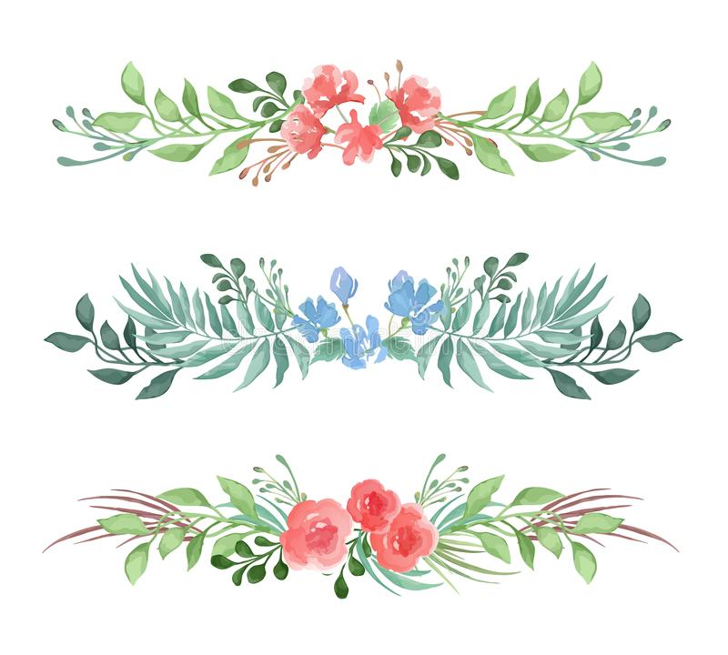 Vector set of decorative floral romantic borders for card or invitation in watercolor style on white background royalty free illustration