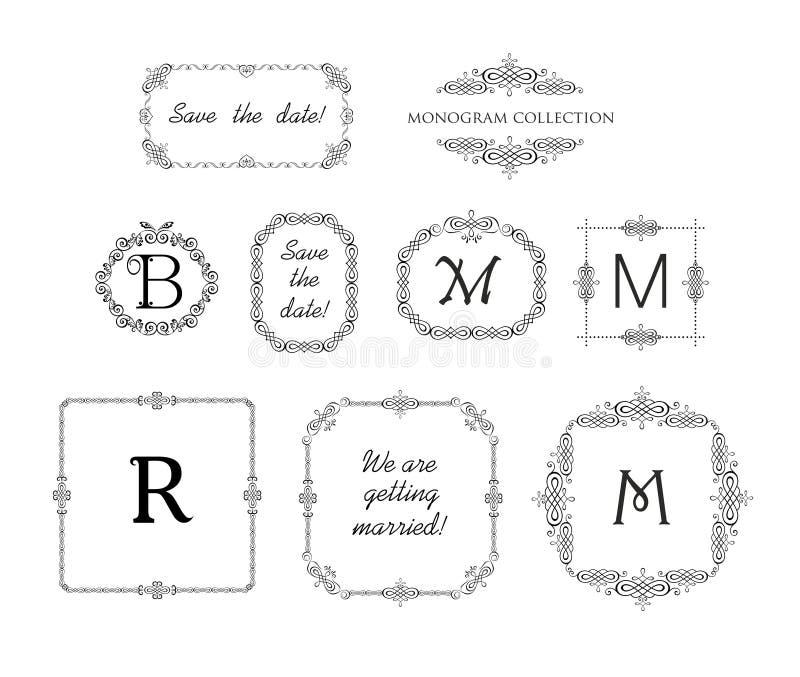 Vector Set Of Decorative Frames And Vignette For Wedding Invitation