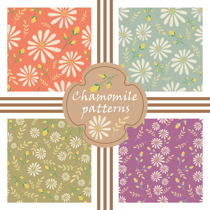 Vector set of decorative pastel flowers patterns. Seamless texture collection. Embroidery floral design with camomiles vector illustration