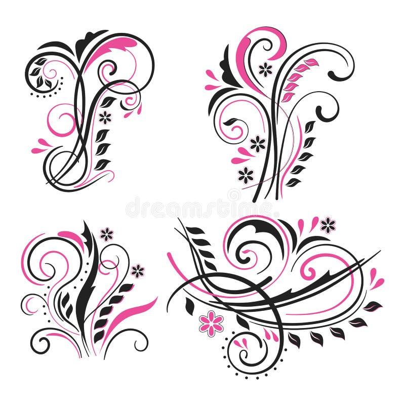 Vector set of decorative swirling floral elements vector illustration