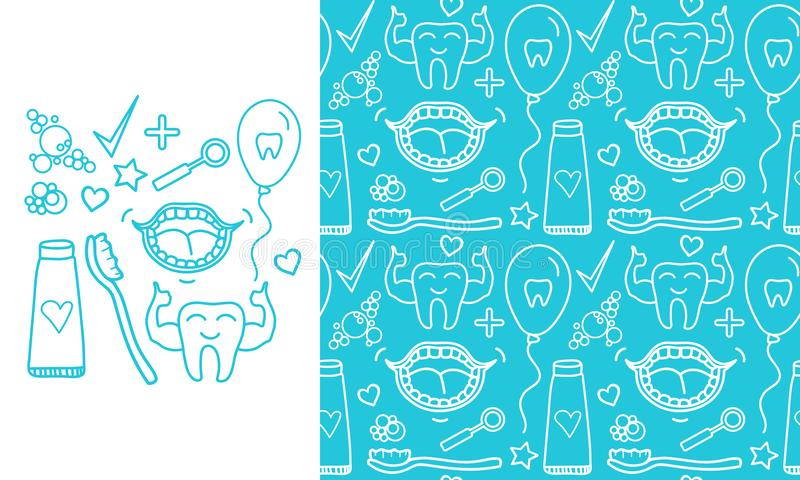 Vector Set Dental care symbols. Seamless pattern and signs isolated on modern color background. Set Dental care symbols. Seamless pattern and signs isolated on royalty free illustration