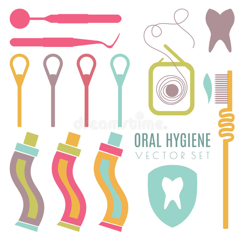Vector set on dental care theme. All objects are conveniently grouped and are easily editable stock illustration