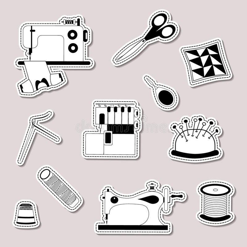 Vector set of design element, logo, badge, label, icon, decoration and scrapbook object. Handmade, tailor, seamstress theme. Sewing machine, vintage sewing vector illustration