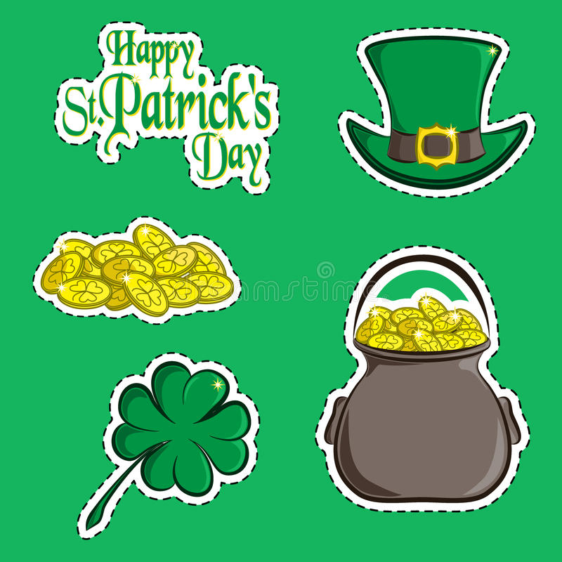 Vector set of design element and scrapbook object of St. Patrick`s Day symbols. Greeting inscription, green hat, a handful of coin stock illustration