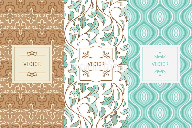 Vector set of design elements for cosmetic and beauty product pa vector illustration