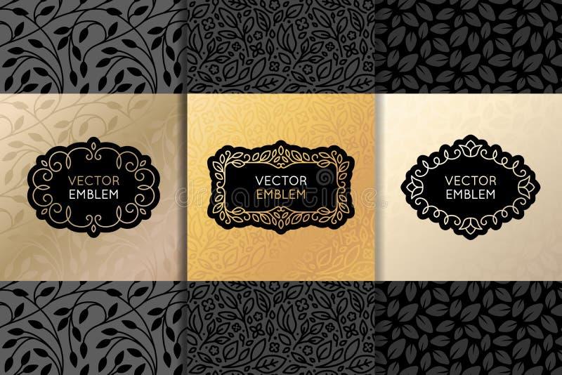 Vector set of design elements, labels and frames royalty free illustration