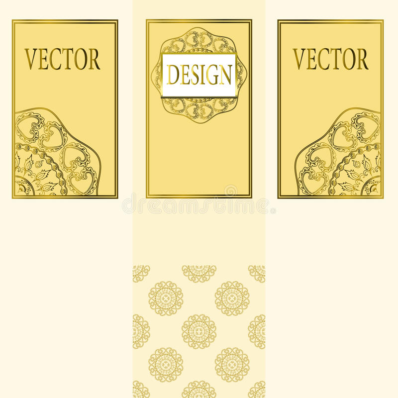 Vector set of design elements, labels and frames for packaging for luxury products in vintage style - places and frames. For text, seamless pattern made with vector illustration
