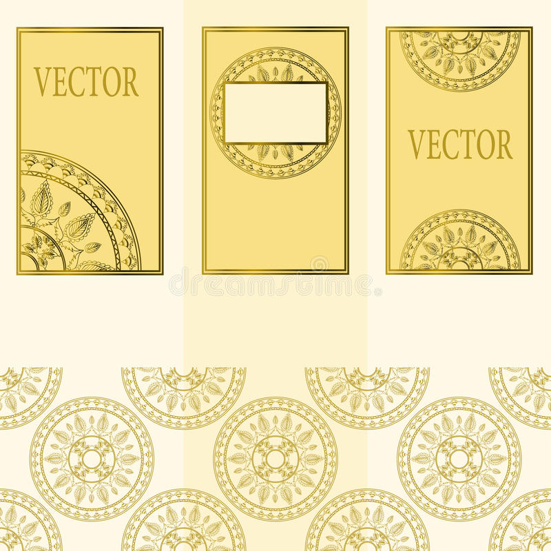 Vector set of design elements, labels and frames for packaging for luxury products in vintage style - places and frames. For text, seamless pattern made with royalty free illustration