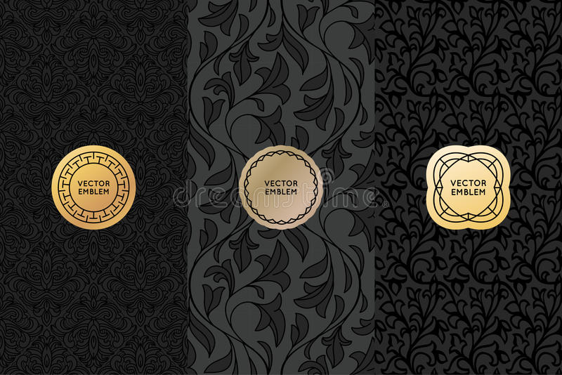 Vector set of design elements, labels and seamless patterns stock illustration
