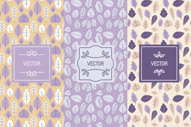 Vector set of design elements for packaging and seamless pattern. S with leaves - backgrounds and templates for organic and natural cosmetics and hand made stock illustration