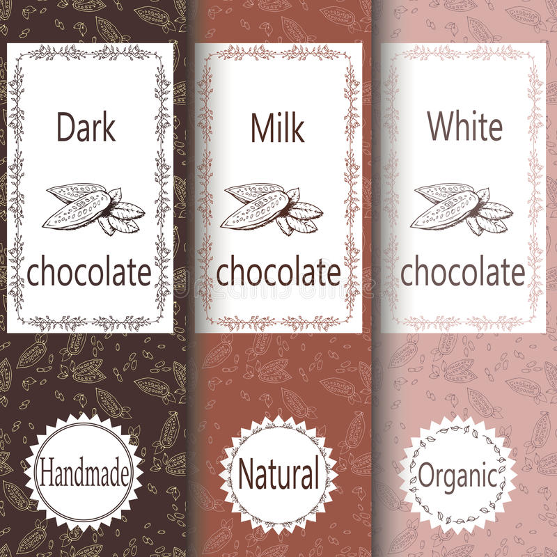 Vector set of design elements and seamless pattern for chocolate and cocoa packaging - labels and background stock illustration