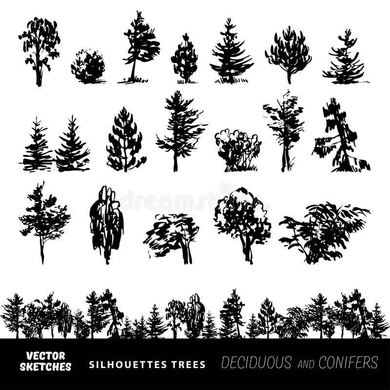Set of vector silhouettes of trees. Vector set of design elements. Sketches in ink, silhouettes of trees r stock illustration