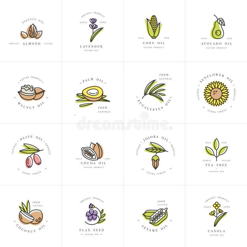 Vector set design templates and emblems - healthy and cosmetics oils. Different natural, organic oils. vector illustration