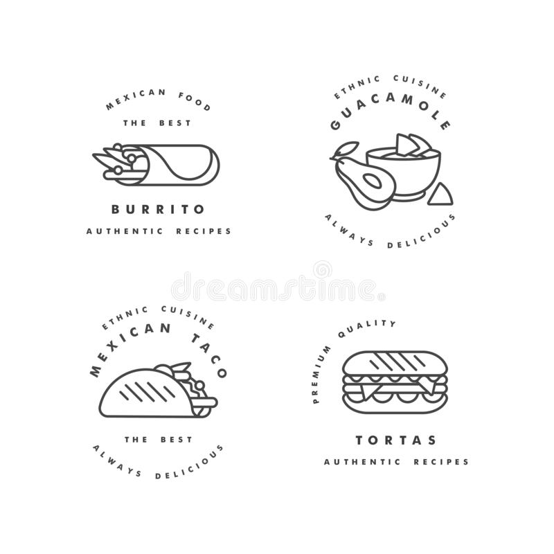 Vector set of design templates logos and emblems - mexican food. Mexican national traditional food. Logos in trendy vector illustration