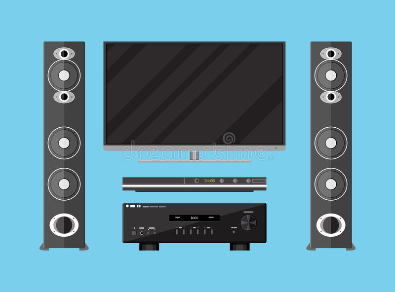 Vector set of detailed home theater devices vector illustration
