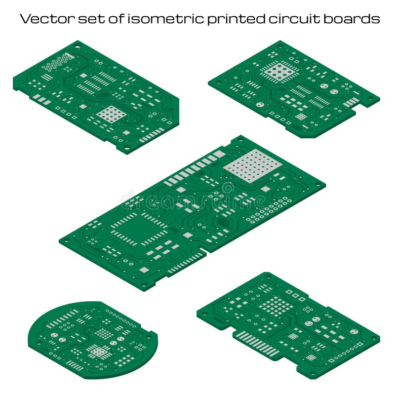 Vector set of detailed printed circuit boards. Vector set of isometric printed circuit boards stock illustration