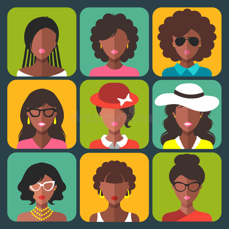 Vector set of different african american woman app icons in trendy flat style. royalty free illustration