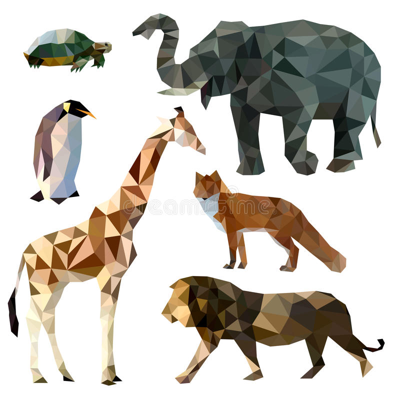 Vector set of different animals, polygonal icons, low poly illustration, fox, lion, elephant, giraffe, turtle, penguin stock illustration
