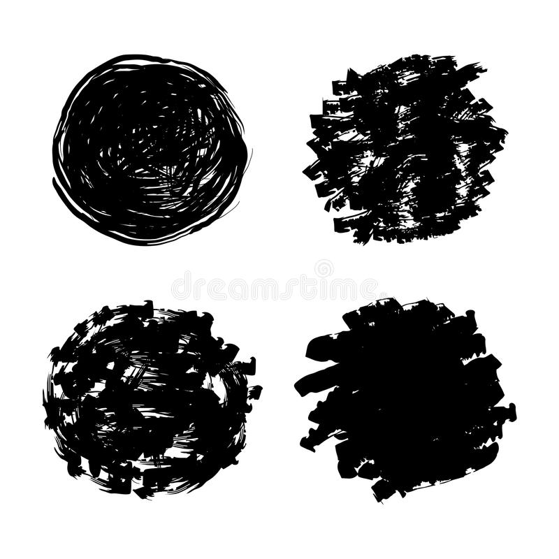 Vector set of different blots. Black grunge paintbrush royalty free illustration