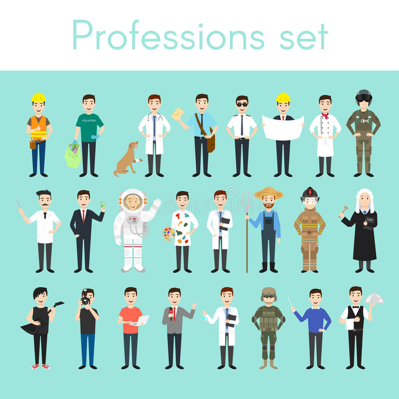 Vector set of different colorful man professions. royalty free illustration