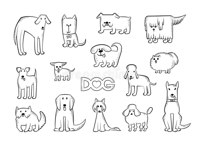 Vector set of different dog breeds. Funny caricature animals characters. Contour isolated black and white sketch royalty free illustration