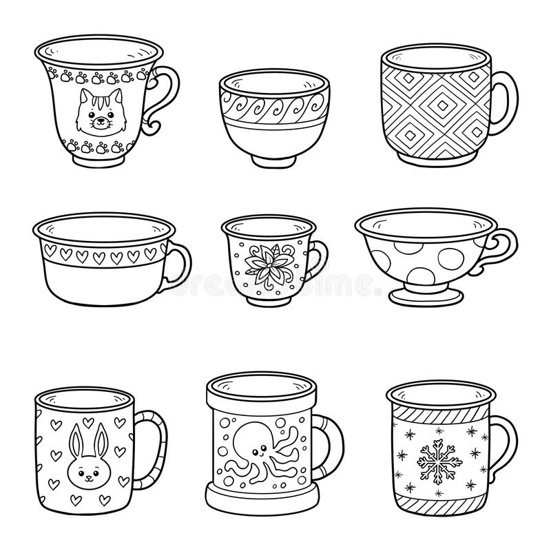 Vector set with different empty cups stock illustration