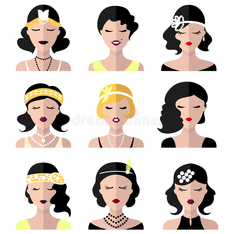 Vector set of different flapper girls icons in modern flat style. royalty free illustration