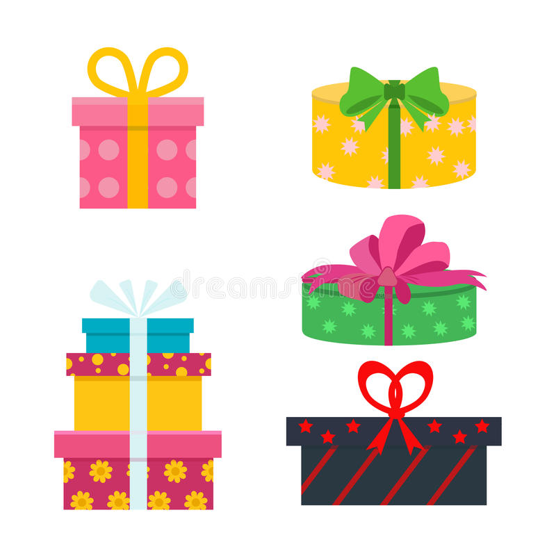 Vector set of different gift boxes. Flat birthday design. Vector set of different gift boxes. Flat gift box decoration design. Present box, holiday surprise stock illustration