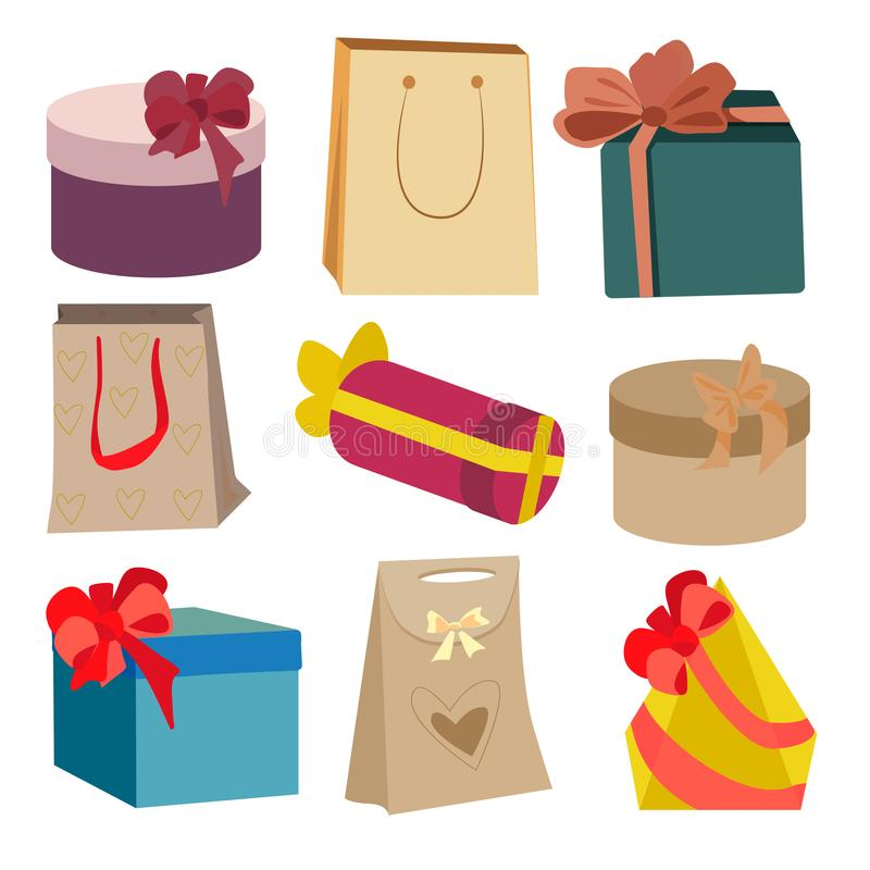 Vector set of different gift boxes. Flat design. vector illustration