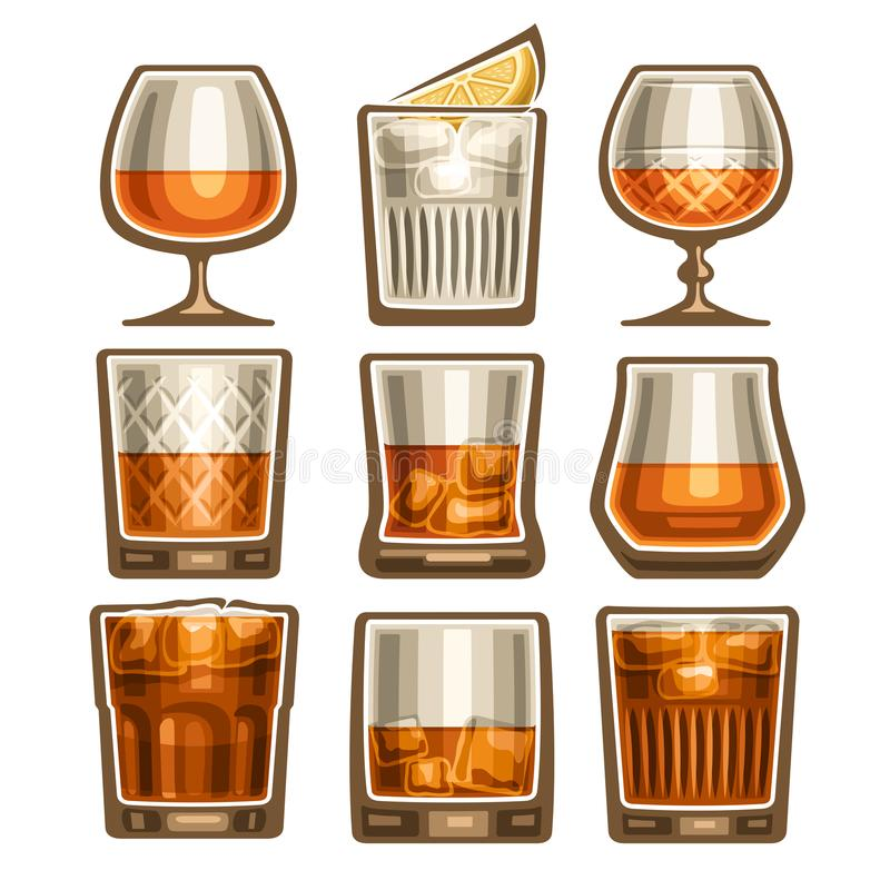 Vector set of different glassware royalty free illustration