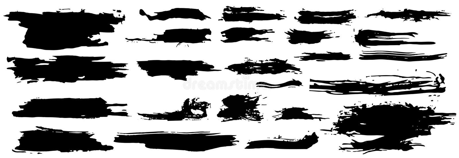 Vector set different grunge brush strokes.Collection of artistic ink black paint hand made creative brush stroke isolated on white stock illustration